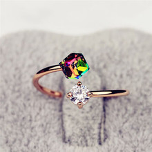 New Fashion Adjustable Open Rings Rainbow Color Zircon Stones Ring For Women Wedding Jewelry Accessories Gift(China)