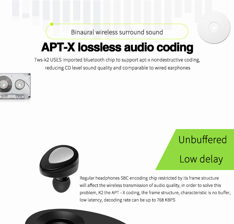 Mini Bluetooth K2 TWS Headset Earphone Wireless Double Earbuds Earpieces Stereo Music Headset Handsfree For Xiaomi Xiomi iPhone