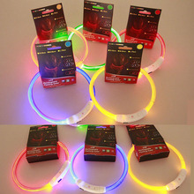 8 Colors 3 Sizes Colorful Rechargeable USB Waterproof Collar for Dogs LED Flashing Light Band Safety Pet Dog Collar