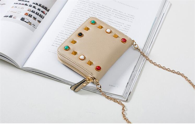 MJ Women Wallets Fashion Colorful Rivets PU Leather Zipper Coin Purse Card Holder Short Wallet with Chain Shoulder Strap (49)