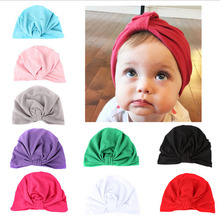 Baby Girls Boys Cotton Soft Turban Knot Hat Infant Toddler Beanies Cap Solid Indian Style Newborn Hat Baby Gift(China)