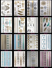 16PCS Temporary Tattoos Health Beauty Coloured Drawing Pattern Flash Tatoo Metal Gold Tattoo Women Adorn Article Randomly Send(China)