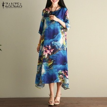 Buy ZANZEA Women Summer Dress 2017 Vintage Floral Print Sexy Dress Ladies Casual Loose Half Sleeve Long Dresses Vestidos Plus Size for $9.78 in AliExpress store