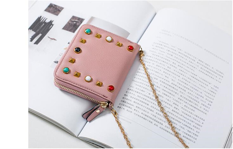 MJ Women Wallets Fashion Colorful Rivets PU Leather Zipper Coin Purse Card Holder Short Wallet with Chain Shoulder Strap (52)