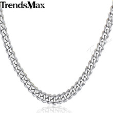 Trendsmax Men's Necklace Stainless Steel Chain Silver Color Curb Cuban Link Chain Gift for Men 55cm 60cm KNM07(Hong Kong,China)