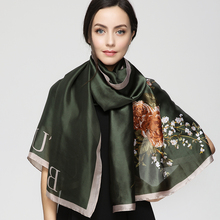 2017 Fashion bandana Long Shawls Gold Printing Silk Scarf Luxury Brand Rose Floral Flower Scarves Women Scarf With Beach YAU039(China)