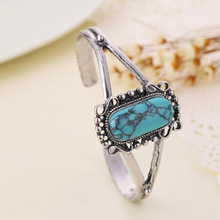 2017 Twilight Bella Blue Stone bracelets bangle fashion retro female hand chain girl vintage silver color jewelry mother's day(China)
