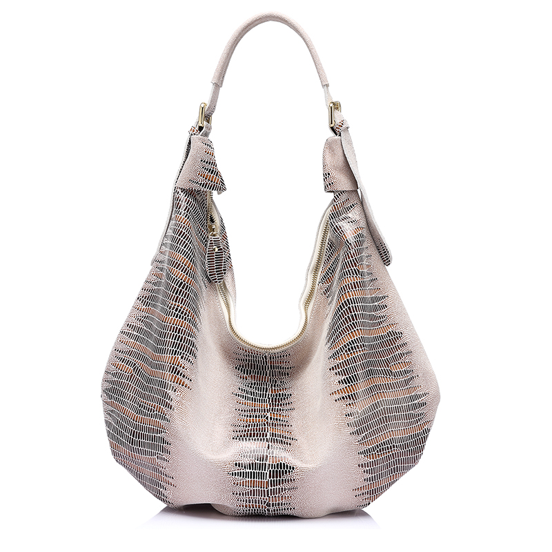REALER New design handbag genuine Leather bag female Fashion animal pattern Hobo bags High Quality Women Tote Bag<br>