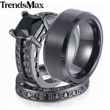 Lover Gifts Couple Wedding Band Ring Set for Women/Men Paved Square Black Cubic Zirconia CZ Gold Filled Tungsten Size 6-13 GR29(Hong Kong)