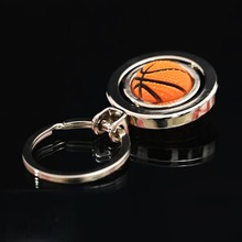Creative 3D Rotating Football Key Chain Basketball Key Ring Sport Promotional Key holder(China)