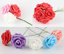 New Hot 1 Pc 8cm Artificial Foam Rose Flowers Wedding Decoration Hand-make Craft Scrapbooking Home Decor Diy Flower Bouquet(China)