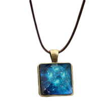 Vintage Style Dreamy Starry Sky Luminous Crystal Pendant Necklace Pyramid Necklace For Men / Women Jewelry