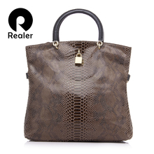 REALER brand genuine leather handbag for women large tote bag with serpentine prints