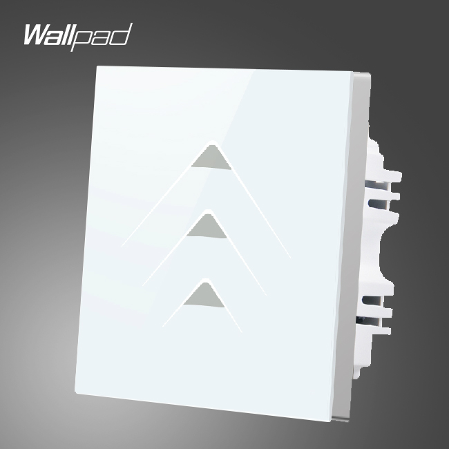 New Arrival Wallpad Smart Home 3 Gang 2 Way Luxury White Crystal Glass Lights Switches,Free Shipping<br>