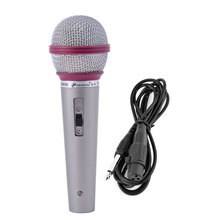 UXCELL Handheld Wired Dynamice Microphone Dark Fuchsia Light Gray Silver Tone For Ktv Karaoke Singing Machine