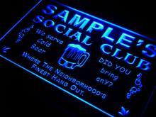 pz-tm Name Personalized Custom Social Club Home Bar Beer Neon Light Sign