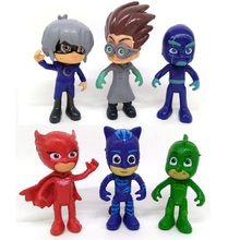 Pj Character Catboy Owlette Gekko Cloak Mask Action Figure Toy Plastic for Boy Birthday Gift 6pcs/set(China)