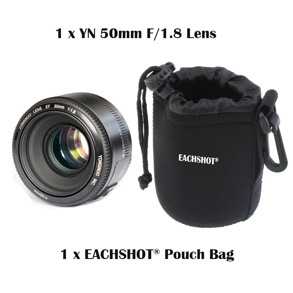 YONGNUO YN 50mm Lens fixed focus lens EF 50mm F/1.8 AF/MF lense Large Aperture Auto Focus Lens Canon DSLR Camera + Pouch Bag