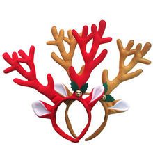 Cute Christmas Headband Hot Elk Antlers Reindeer Bell Headwear Hair Band Fashion Plush Xmas Decoration(China)