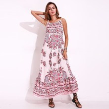 Buy 2017 Boho Strappy Backless Long Chiffon Dress Women Floral Summer Dress Sexy Sleeveless Beach Holiday Maxi Dress Vestido Mujer for $12.39 in AliExpress store