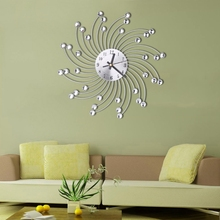 3D Metal Wall Clock Diamonds Flower Silent Dazzling Watch Room Home Office Decor(China)