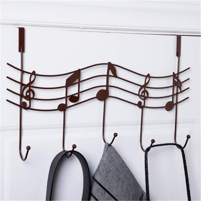 Iron Hook Rails Music Notes Style with Five Hooks Home Bathroom Kitchen Coat Hat Bag Metal Hanger Organizer Bronze White Black(China)
