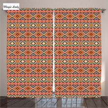 Orange Curtains Living Room Bedroom Decor Native American Ethnic National Cultural Ornament Pattern 2 Panels Set 145*265 sm