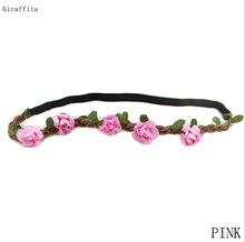 Lovely Design Floral Headband  Women Rose Flower Hair Accessories Girls Flower Adjustable Hair Band Elastic Flower Headband