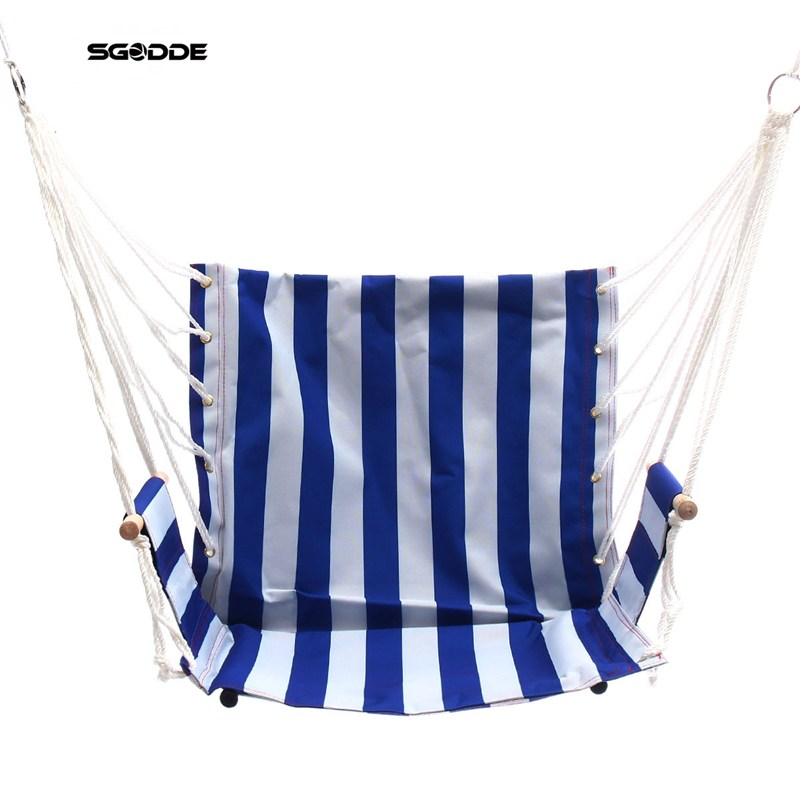 SGODDE Portable Hammock Hanging Rope Chair Porch Swing Seat Patio Camping Blue Stripe Outdoor Indoor Swing Seat Chair<br>