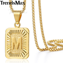 Trendsmax Gold Silver Color Initital Capital Letter Charm Pendant Necklace Womens Mens Fashion Jewelry GP37-54(Hong Kong)