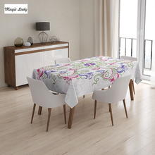 Flower Table Cloth Round Frame Design Classical Vintage Floral Art Ottoman Tulips Purple Green White 145x120 cm / 145x180 cm