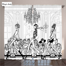 Modern Living Room Curtains In Black White Bedroom Fashion Catwalk Supermodel Audience Mannequin Art 2 Panels Set 145*265 sm