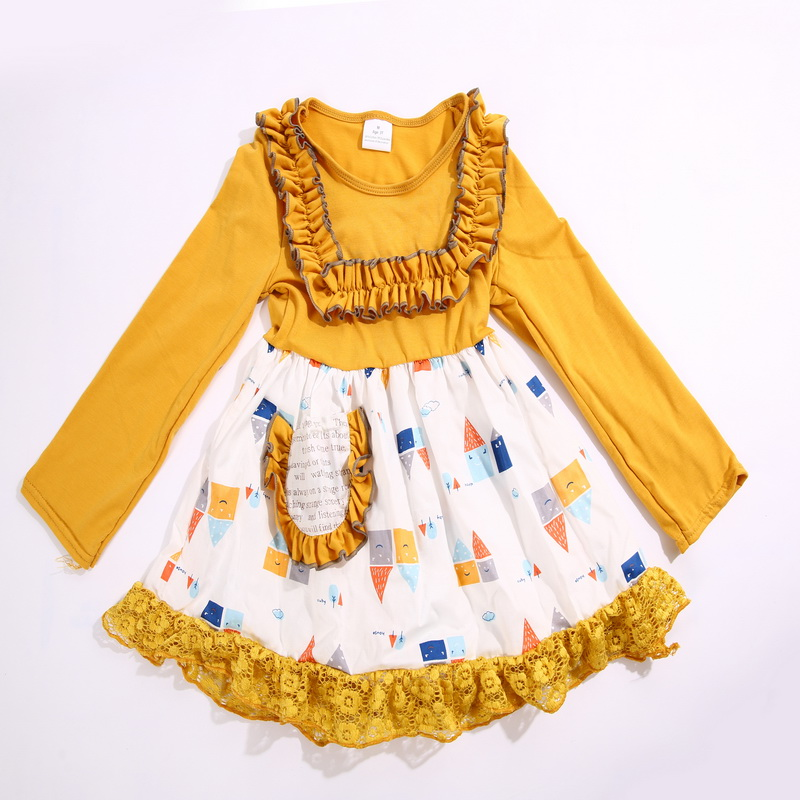 2017 Hot Sale Spring and Autumn Full Sleeves Yellow and White with geometry Printed Baby Girls Dress Apparel Accessory<br>
