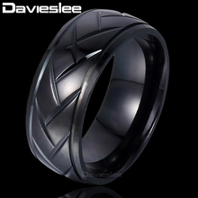 Davieslee Black Arrow Carved Stainless Steel Grooved Dome Wedding Band Ring Ring Mens Womoen Jewelry DLKR90