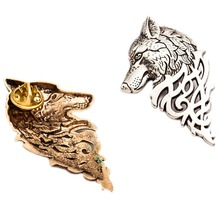 Fashion Vintage Personalized Wolf Head Brooch Upscale Unisex Animal Suit Collar Pin Buckle Broche Wolfhead Brooches Pins For Men