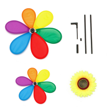 Sunflower Windmill Wind Spinner Rainbow Whirligig Wheel For Home Yard Decor(China)
