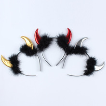 1 piece Halloween Cosmetic Dance Demon Headdress Plush Red Horn HairBand Devil Horns Children Adult Hair Hoops(China)