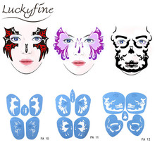 Soft Face Body Airbrush Paint Stencil Reusable Template Temporary Tattoo Painting Makeup Design For Halloween Christmas Party(China)