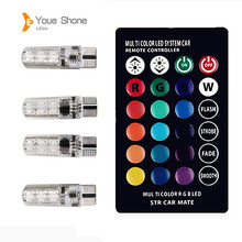 Youe Shone RGB T10 W5W Led Car Clearance Lights SMD RGB T10 LED 194 168 Bulb Remote Width Interior Lighting Source Car Styling(China)