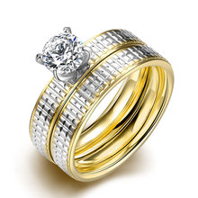Lureme Luxurious Golden and Silver Tone Line Carved Stainless Steel Big Zircon Womens Girls Ring Wholesale (04001557)