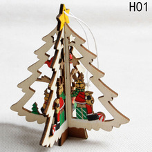 Natural Wooden Pentagram Christmas Tree Drop Ornaments Christmas Motif Wooden Pendants Snowman Hanging Xmas Home Room Decor(China)