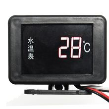 Universal DC 12V/24V Digital LED Car Water Temperature Gauge 17mm Sensor And Cable + Probe(China)