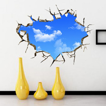 1Set! 50*70cm Blue Sky And White Cloud 3D Ceiling Wall Poster Drawing Room Sofa Background Wall Decorative Stickers(China)