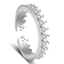 2017 ladies fashion new silver color opening ring size adjustable exquisite crystal crown ring  jewelry elegant gift