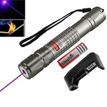 High Power Blue Purple Violet Laser Pointer Pen Powerful 405nm Bright Single Point Laser Burning Match + 18650 Battery + Charger(China)