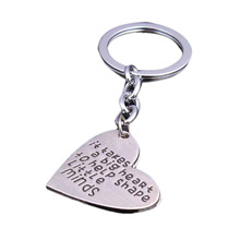 "2017 Teacher's Jewelry Teacher Gifts Keyring "" It Takes a BIG Heart to Help Shape Little Minds"" Silver Pendant Dog Tag Keychain(China)"