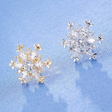 1 piece 2017 Hot Sale Cheap Crystal Flower Brooch Fancy Tone Bridesmaid Dress Snowflake Brooch Pins korean version(China)