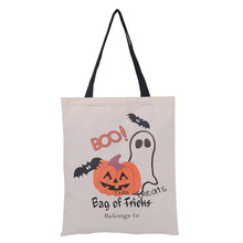 1 PC Halloween Gift Bag Sacks Canvas Cotton Drawstring Children Candy Large Bag Party Pumpkin Tote Bag New Year(China)