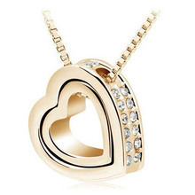 2017 Hot Sale Unique Lovers Necklace Double Heart Full Of Rhinestones Necklaces & Pendants Collares For Women(China)
