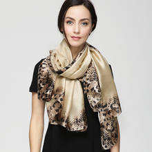 180cm*90cm Women 2017 New Fashion Designer Brand Solid Color Euro Leopard and Snakeskin Pattern Long Silk Scarf Big Shawl YAU020(China)